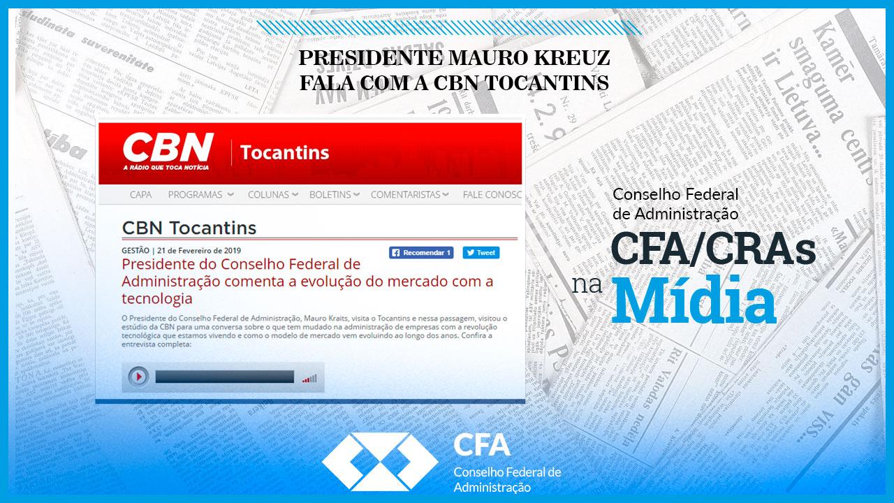 Presidente Mauro Kreuz fala com a CBN Tocantins